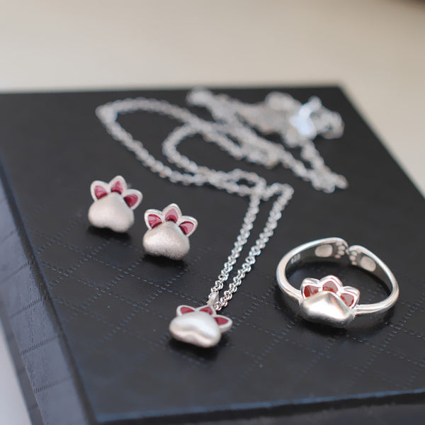 Kawaii Cat Paw Silver Necklace/Ring/Earrings