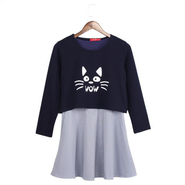 Kawaii Cat Printed Two Pieces Striped Long Sleeve Dress