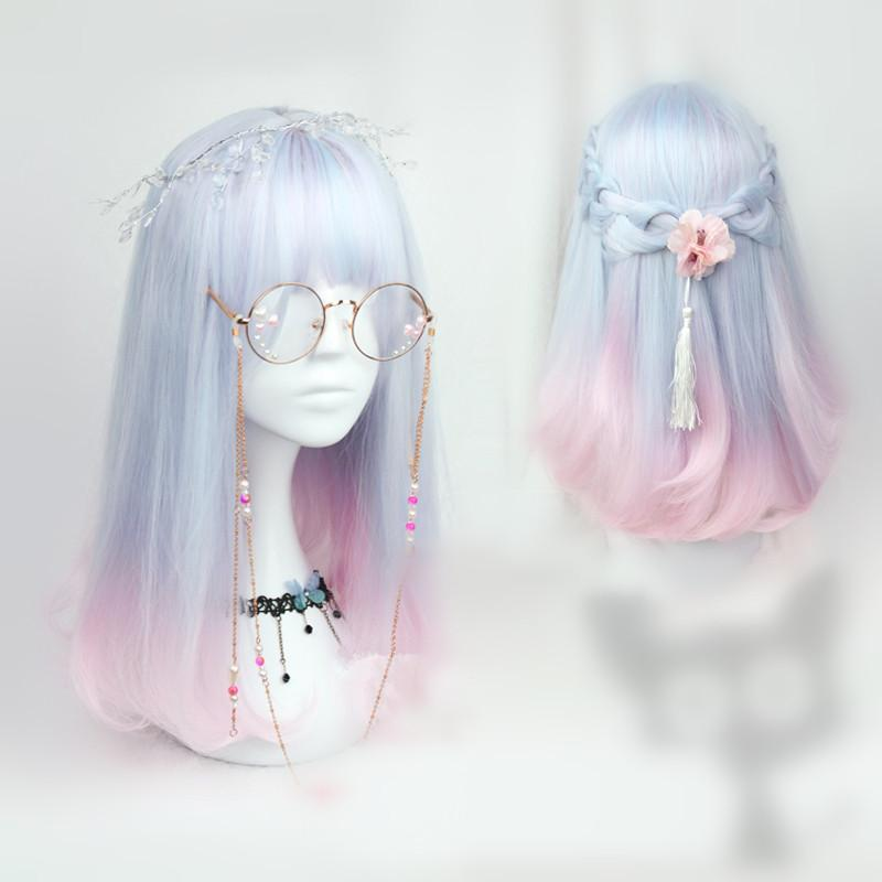Pastel Blue Pink Mixed Wig KW165379
