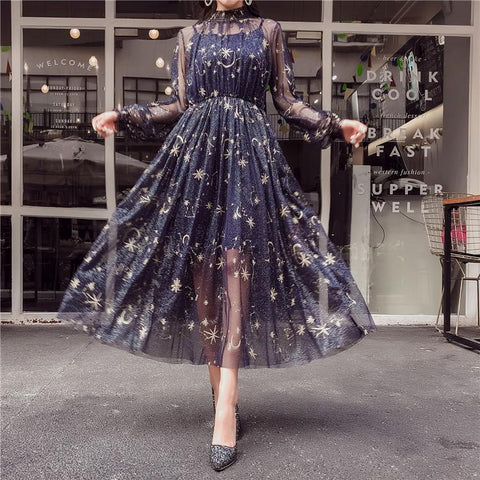 Navy/Beige Starry Layered Tulle Long Dress KW1812090