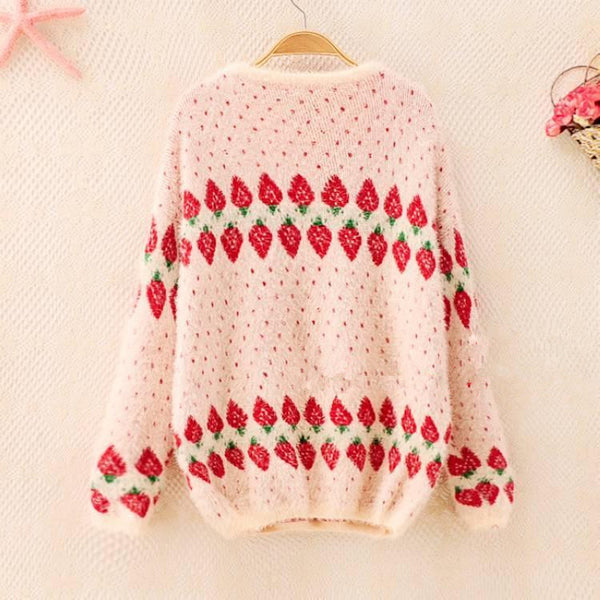 Oversized Warming Strawberry Knitting Sweater KW168490