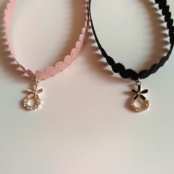 Pink/Black Flower Pendant Choker Necklace KW1811905