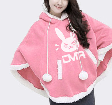 Pink/Blue Kawaii Fleece Hoodie Cape KW178671