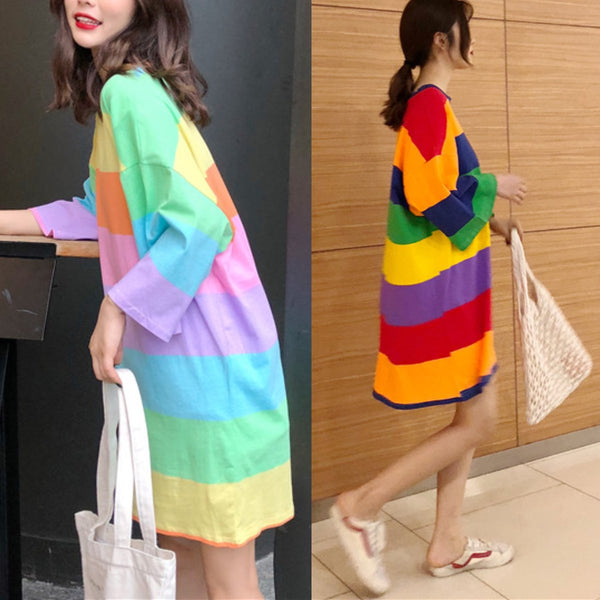 Pink/Blue Pastel Rainbow Stripe Dress KW1812641