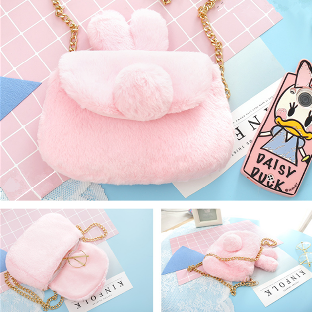 Pink/White/Grey Kawaii Plush Bunny Ear Shoulder Bag KW1812416