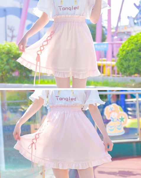 Pink Sweet High Waist Suspender Skirt KW1812550