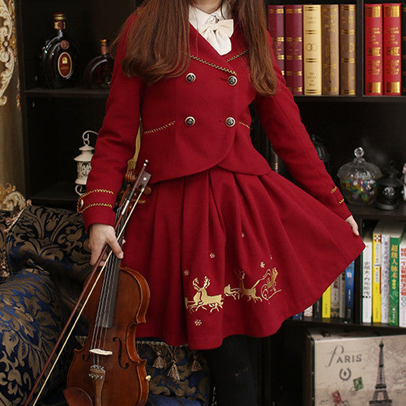 S/M/L White/Red Reindeer Printing Woolen Coat Skirt Set