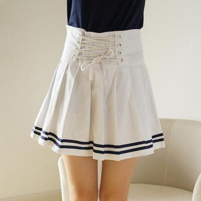 Spring Summer Nautical Style Laced Skirt KW179639