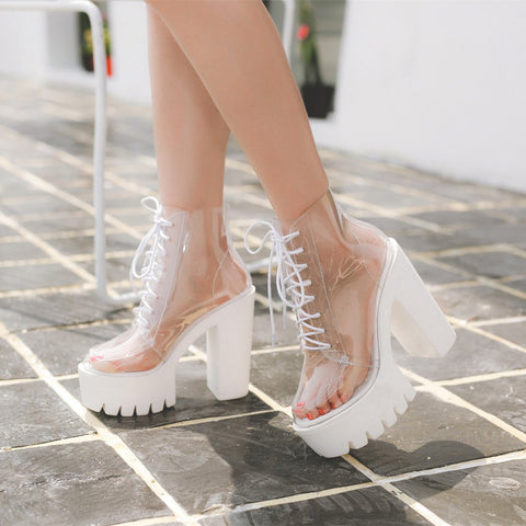 Transparent High-Heeled Platform Boots KW1812449