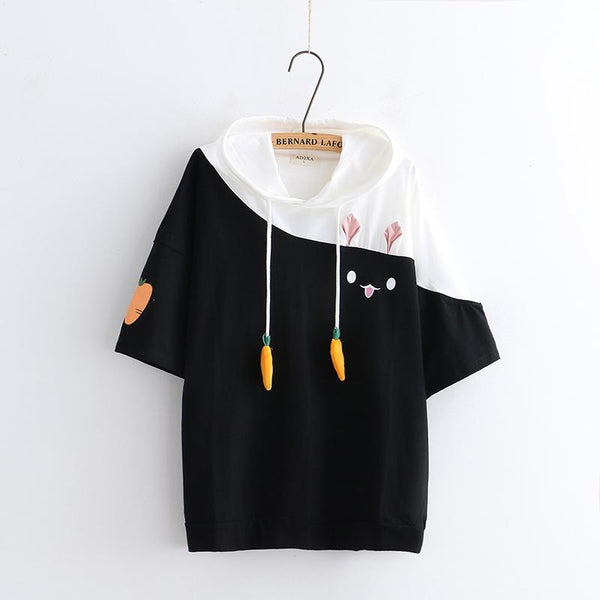White/Black/Pink Kawaii Bunny Hoodie T-Shirt KW1812629