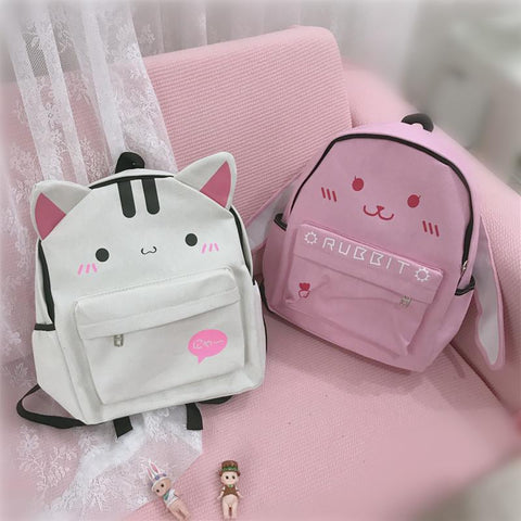 White/Pink Kawaii Kitty/Bunny Canvas Backpack KW1812089