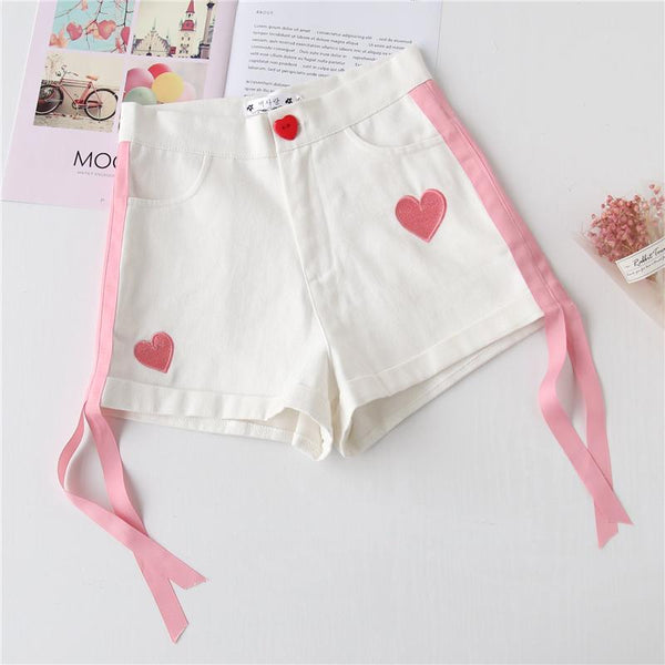 White Sweetheart Ribbon Shorts KW1812267
