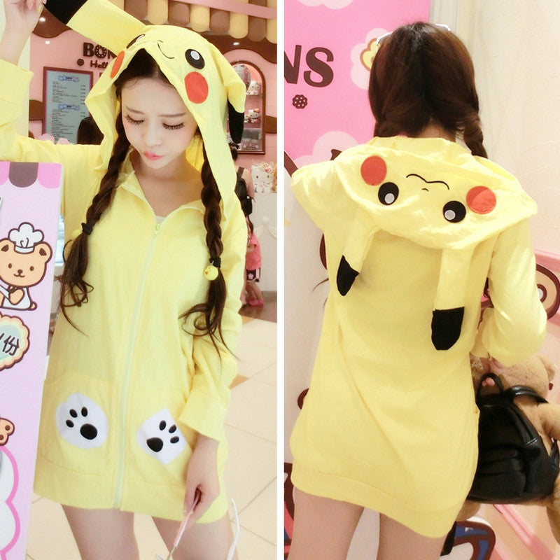 [Kawaii Fashion] Yellow Hooded Thick and Thin Version Pikachu Hooded Jacket