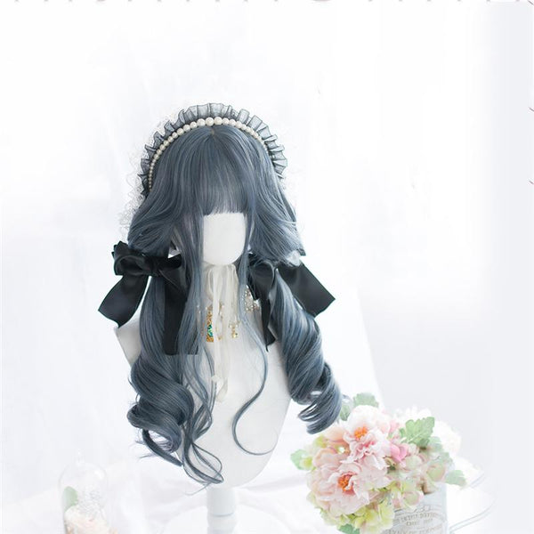 Lolita Fog Blue Long Curly Wig KK0936 - kawaiimoristore