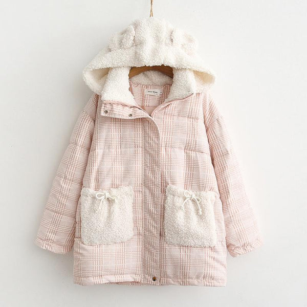 Bear Ears Pink Cute Cotton Coat K15688 - kawaiimoristore