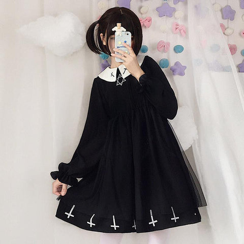 Goth Cross Hexagram For Cute Gril Mesh Dress K15556 - kawaiimoristore