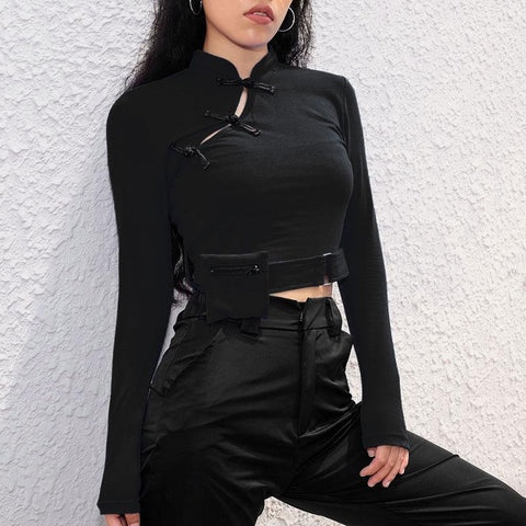 Buckle Tight Crop Top K091 - kawaiimoristore
