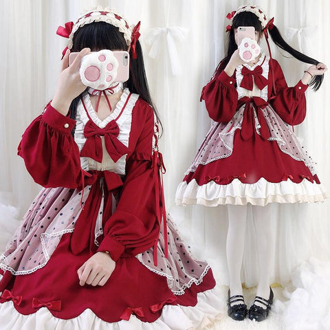 Lolita Cute Red Bow Princess Dress KK0885 - kawaiimoristore