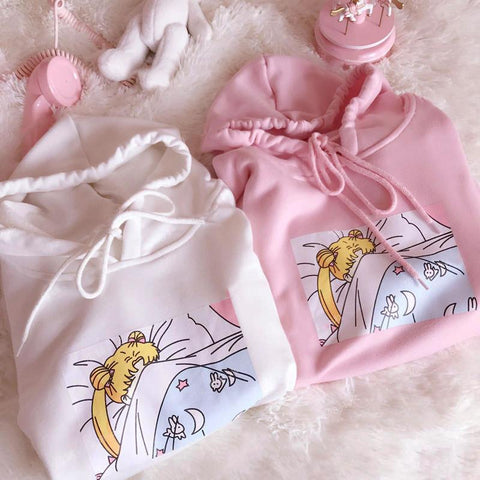 White/Pink Sleepy Usagi Fleece Hoodie Jumper