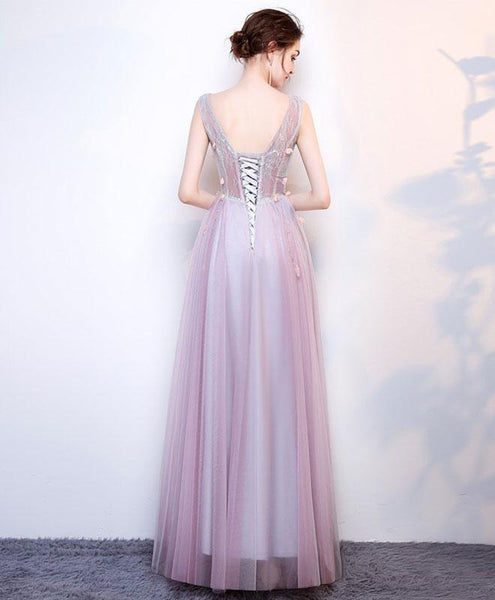 A Line V Neck Lace Tulle Long Prom Dress, Lace Evening Dress - DelaFur Wholesale
