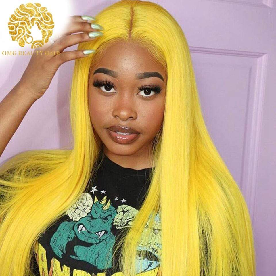 Yellow Human Hair Wigs For Women Lace Front