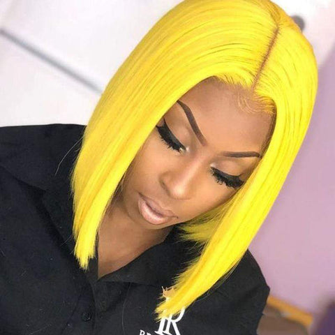 Short Yellow Human Hair Bob Wigs For Women Lace Front Wigs Free Part Swiss Lace Cheap Brazilian Wigs