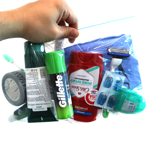 Ziplock bag of toiletry items