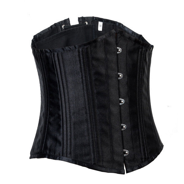 24 Steel Bones Waist Training Black Underbust Corset