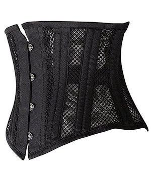 26 Steel Boned Waist Training Cincher Breathable Mesh Corset Short Torso Shapewear