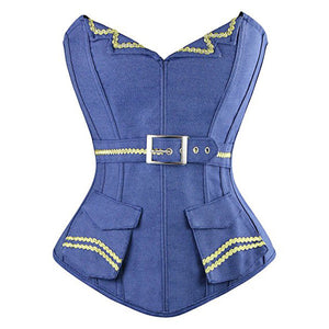 Denim Corsets Bustier Tops with Side Zipper