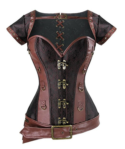 Brocade Steampunk Corsets with Pouch Belt Brown Color Clothing