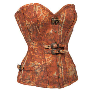 Brown Buckles Clasp Overbust Steampunk Halloween Outfits Clothing Corset