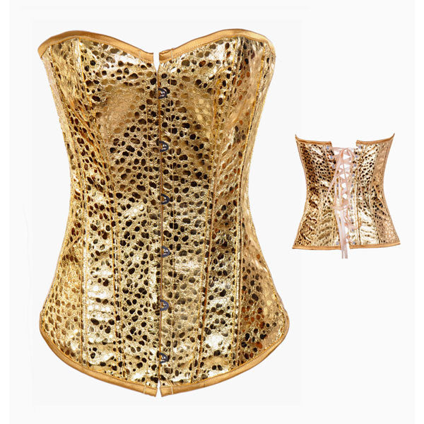 Burlesque Body Shaper Strapless Gold Leather Overbust Corset