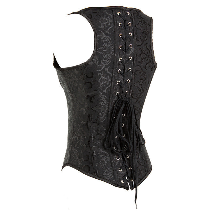 Embroidered Steampunk Hourglass Underbust Costume Vest Corset