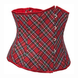 Classic Red Plaid Waist Cincher Workout Underbust Corset