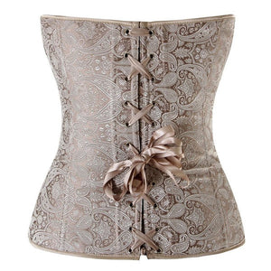 Classic Rouched Cups Removable Straps Brocade Overbust Corset