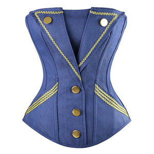Denim Corsets with 2 Pocket and Button Embellish