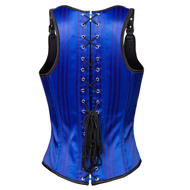 Fashion Steampunk Stripe Underbust Vest Blue Corset