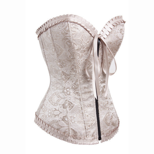 Fashion Sweetheart Zipper Closure Bustier Overbust Brocade Corset