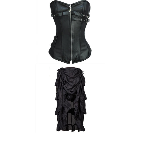 Faux Leather Gothic Halloween Steampunk Costumes Clothing with Skirt