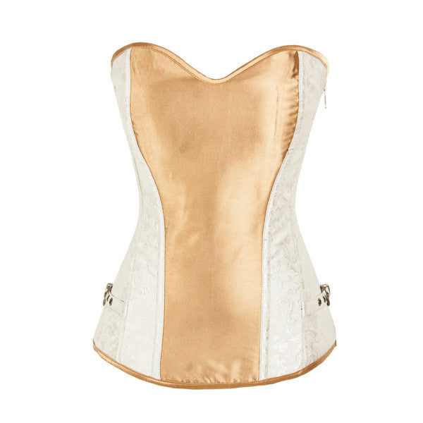 Gold Silver Steel Boned Waist Cinching Overbust Corset