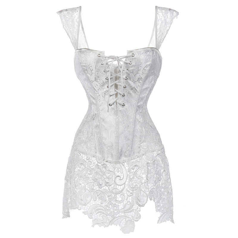 Gothic Burlesque White Corset Dress Lace Skirt With Zipper Back