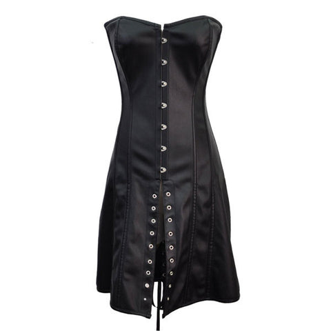 Gothic Retro Leather Black Long Corset Steampunk Dress