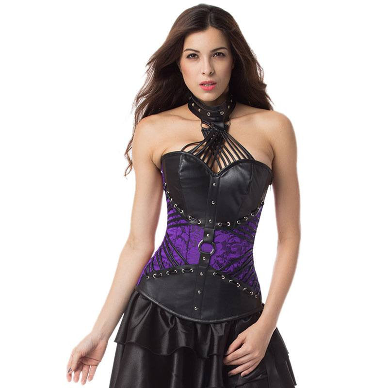 Halter Straps Steampunk Halloween Outfits Gothic Overbust Corset Attached Neck Gear