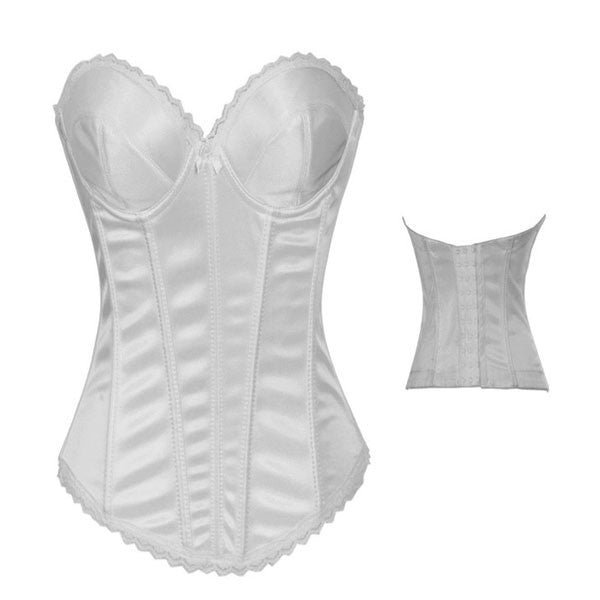 Hot Sexy Satin Underwire Cups Bridal Overbust Corset