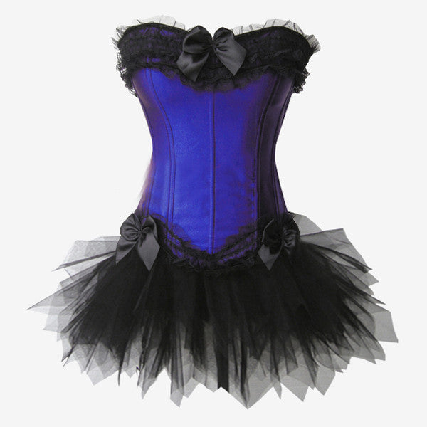 Layered Lace Trim Satin Burlesque Strapless Corset with Skirt