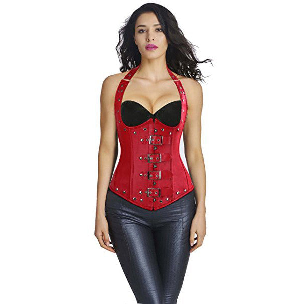 Leather Steel Boned Buckle Cupless Underbust Rivet Corset