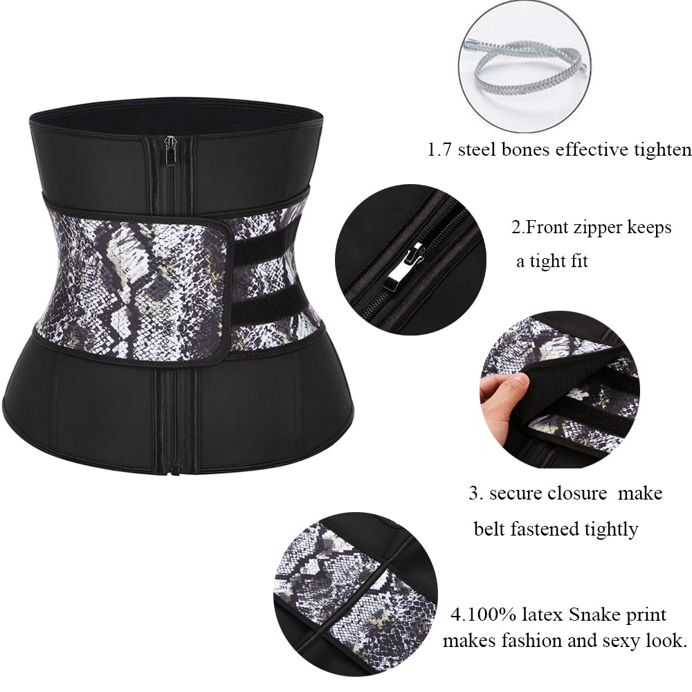 Abdominal Belt Zipper Plus Size Latex Waist Corset Waist Trainer,Black,XXXL,United States