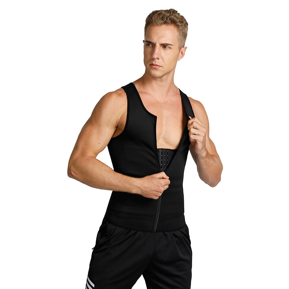 Men Slimming Body Shapewear Vest Zipper Breathable Waist Trainer