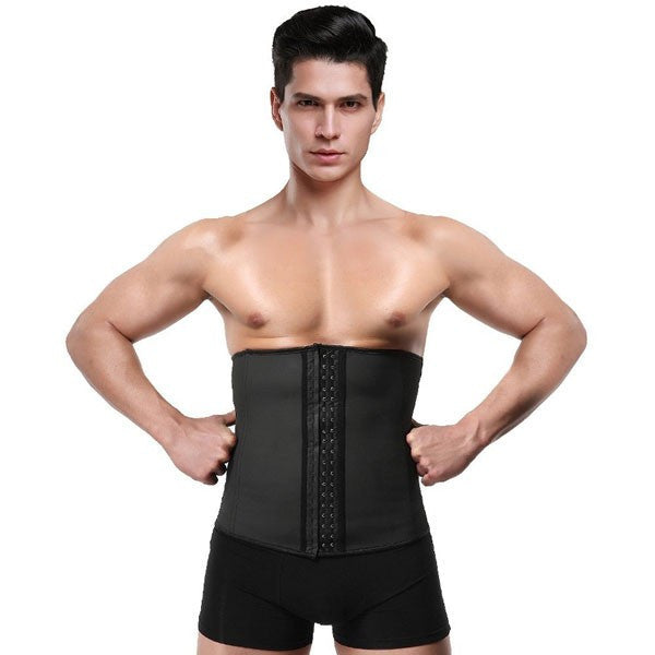 2796dbdb15 Men s 3 Hooks Latex Waist Trainer Shapewear Corsets